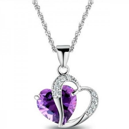 Never To Be Parted Love Heart Women's Sterling Silver Necklace