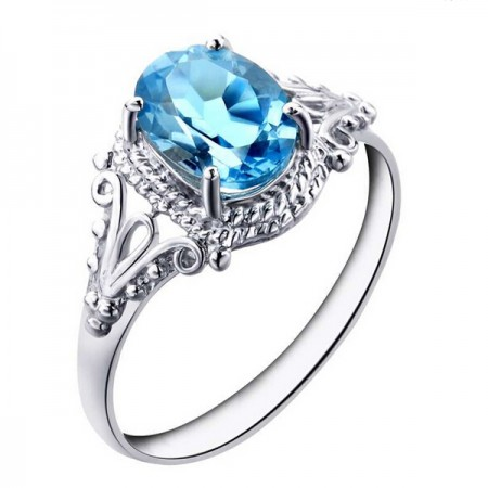 Smart Retro Natural Topaz 925 Silver Engagement Ring