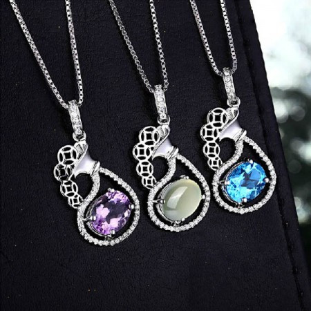 Elegant Natural Gemstone 925 Sterling Silver Women's Necklace
