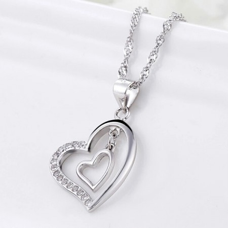 Romantic 925 Sterling Silver Heart Shape Women's Necklace