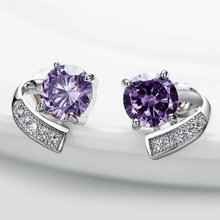 Unique Design 925 Sterling Silver Crystal Stud Earrings