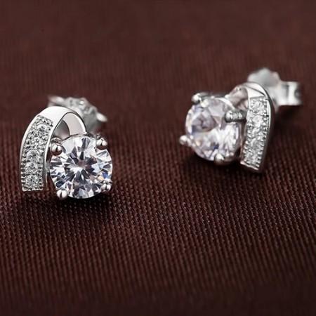 Unique Design 925 Sterling Silver Crystal Stud Earrings Diamond Earrings For Women