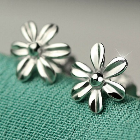 Beauty Retro Flower 925 Sterling Silver Stud Earrings For Girl