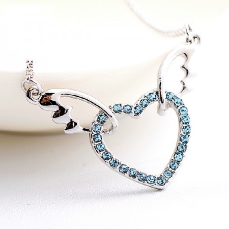 Fashion Austrian Crystal Heart-shaped Wing Women's Necklace