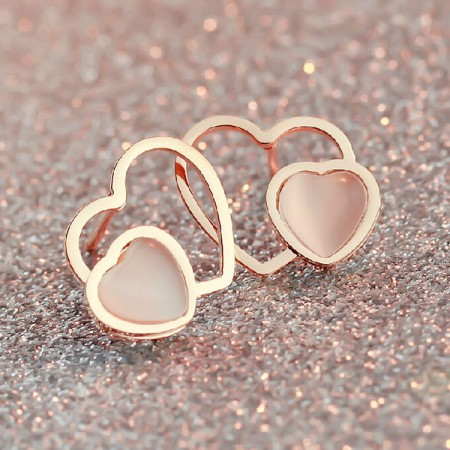 Lovely 18K Rose Gold Heart-shaped Opal Stud Earrings
