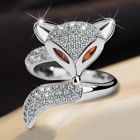 Shining Fox-shaped Rhinestone Opening Cocktail Ring For Women