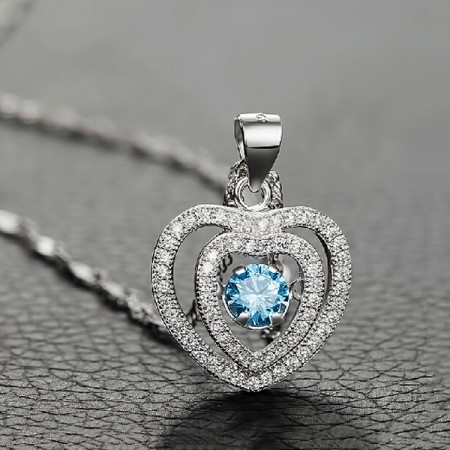 Romantic 925 Sterling Silver Heart-shaped Women's Necklace