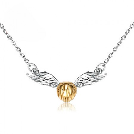 Exquisite Harry Potter Golden Snitch Shape 925 Sterling Silver Necklace