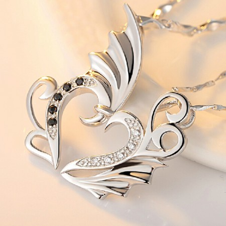 925 Sterling Silver Angel Wings Shape Couple's Necklace