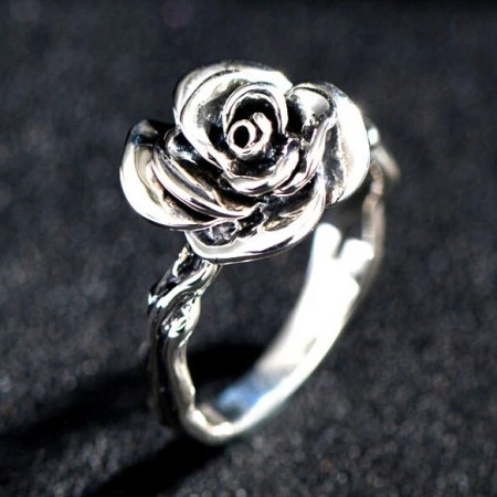 Retro 925 Sterling Silver Rose-shaped Ring For Women