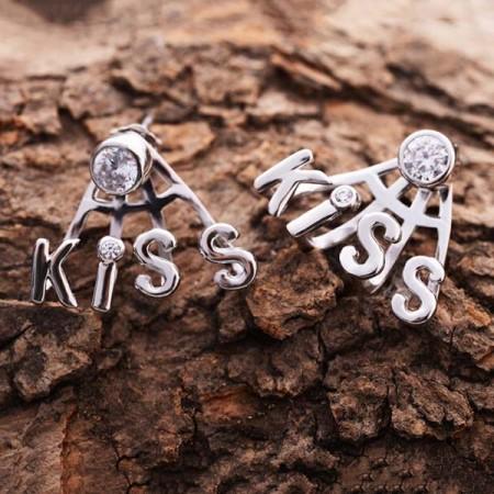 Fashion Lovely Rhinestone Kiss Shape 925 Sterling Silver Women S Clip Earrings