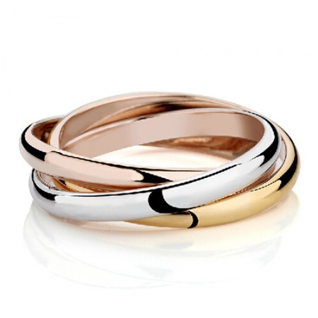 Fashion Titanium Steel 18k Gold Plated Three Pieces Cocktail Ring Set