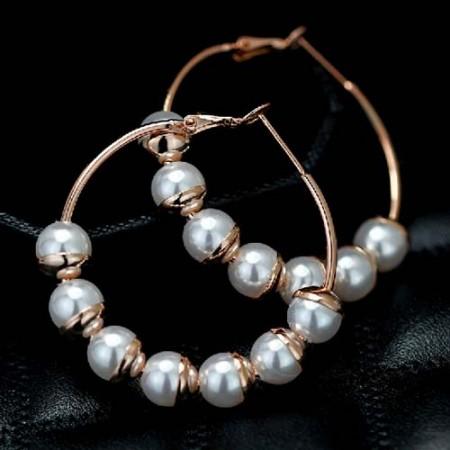 Chic Hyperbole Handmade Pearl Hoop Earrings For Women