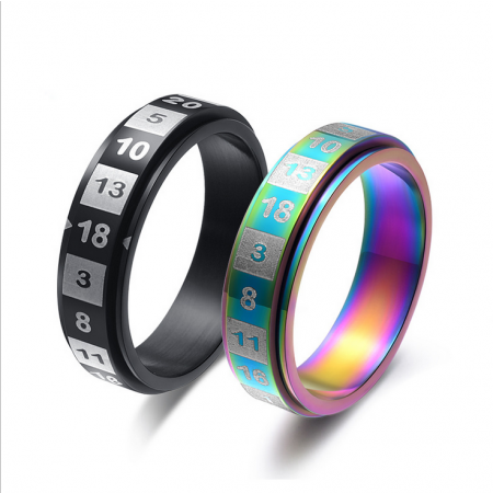 Titanium Steel Digital Rotating Birthday Gift Ring