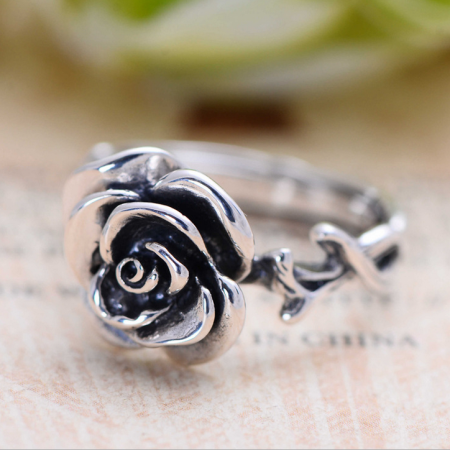Classic Impressive 925 Sterling Silver Rose Open Loop Ring For Her