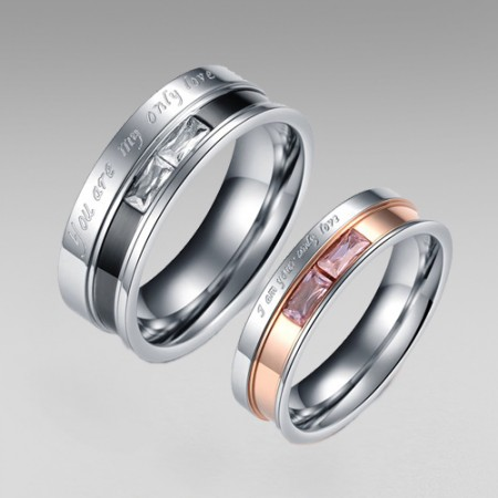 Romantic 'Only Love' Letter Titanium Steel Couple Rings