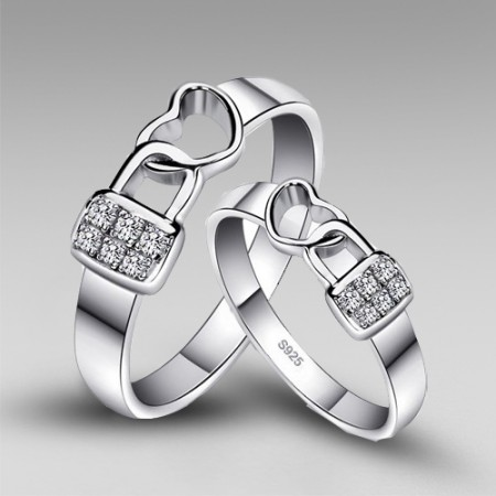 Romantic 'Lock Heart' 925 Sterling Silver With Platinum Plated Couple Rings