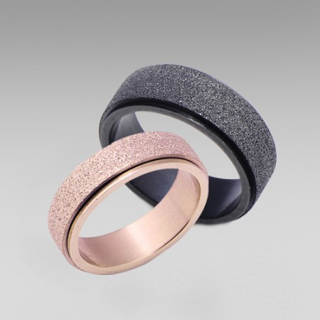 Simple Style Matting Titanium Steel His and Her Couple Rings