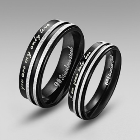 Black Stainless Steel Couple Rings in Simple Style