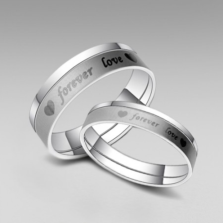 """Titanium Steel with Word """"forever love"""" and Hear Printed His and Her Rings Band"""
