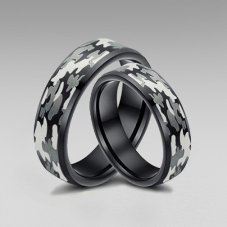 Tungsten Camo Rings for Him and Her with Black Inside