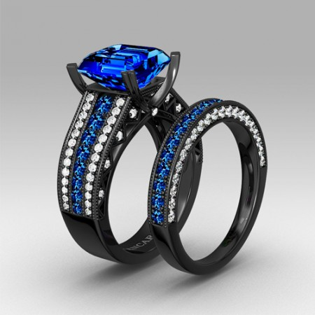 Blue Cubic Zirconia with Asscher Cut Women's Black Wedding Ring Set with 925 Sterling Silver