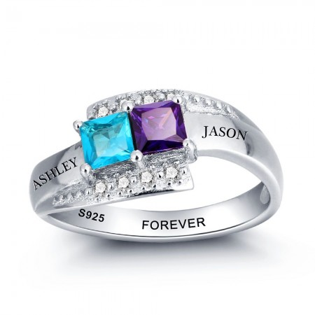 Personalized 925 Sterling Silver Mothers Rings with 2 Simulated Birthstones Custom Engraved Promise Rings for Women