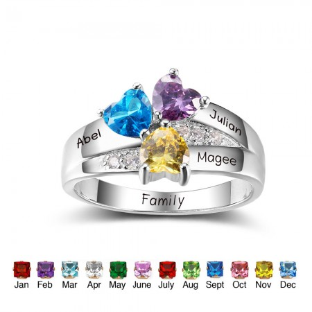 Personalized 925 Sterling Silver Mothers Rings with 3 Simulated Birthstones Custom Engraved Promise Rings for Women
