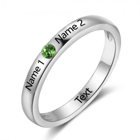 Personalize Birthstone & Engraved Sterling Silver Ring