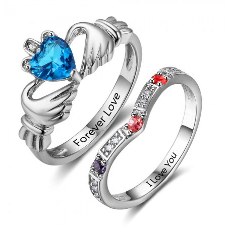 Birthstone Rings Mothers Rings 925 Sterling Silver Personalized Birthstone Family Cubic Zirconia Ring Mother's Day Gift