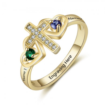 Gold Birthstone Rings Mothers Rings 925 Sterling Silver Personalized Birthstone Family Cubic Zirconia Ring Mother's Day Gift