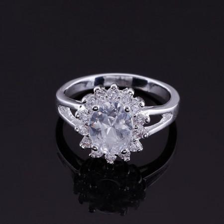 Fashion Flower Cz Ring