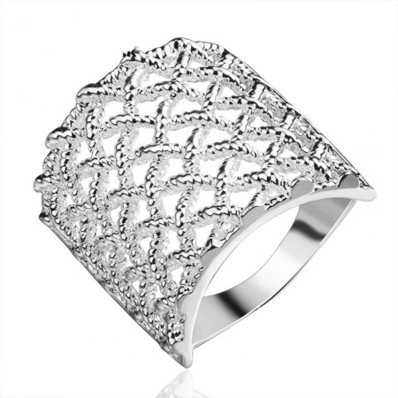 Wide Hollow Reticulated Rings