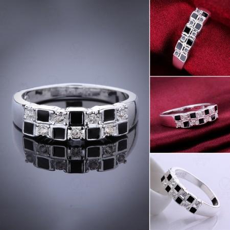 Fashion Enamel Square Diamond Ring