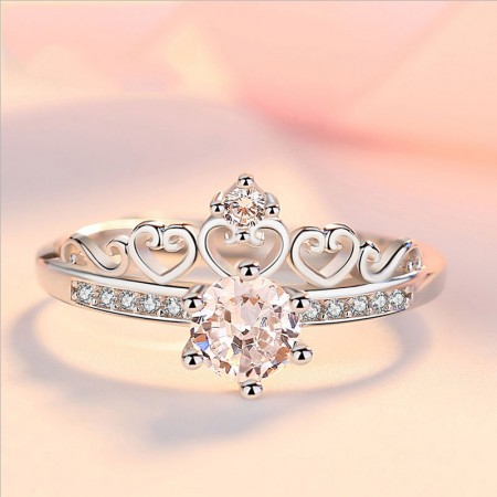 18K Pure Gold Plating 925 Silver Crown Adjustable Engagement Ring