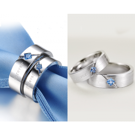 Exquisite Forever Inlaid Cubic Zirconia 925 Silver Couple Rings (Price For a Pair)