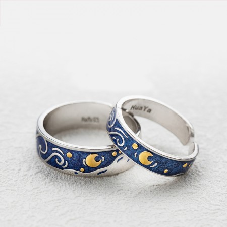 The Starry Night 925 Silver Couple Rings (Price For a Pair)