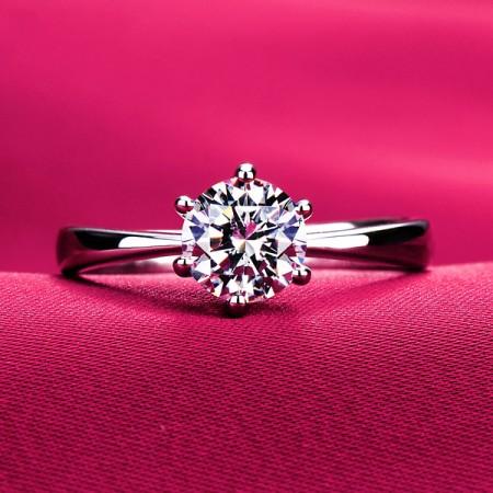 Classic Luxury Pt950 0.39Ct - 3.0Ct  Six Prong Diamond Wedding Jewelry Rings Engagement For Women SZ 4-10