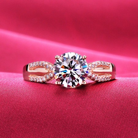 2.0 Carat Simulated Diamond Engagement/Wedding/Promise Rose Gold Ring For Her