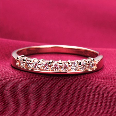 0.3 Carat x 9 Simulated Diamond Engagement/Wedding/Promise Rose Gold Ring For Her