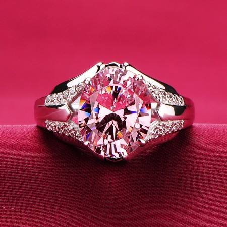 3.0 Carat Pink Simulated Diamond Engagement/Wedding/Promise Ring For Her