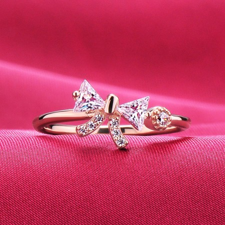 0.2 Carat Simulated Diamond Engagement/Wedding/Promise Rose Gold Open Ring For Her