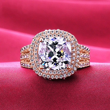 4.0 Carat Simulated Diamond Engagement/Wedding/Promise Rose Gold Ring For Her
