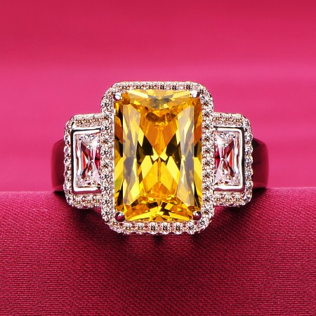 3.0 Carat Yellow White Simulated Diamond Engagement/Wedding/Promise Ring For Her