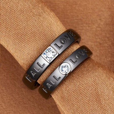 FOREVER LOVE Matching 925 Silver Black Promise Rings For Couples (Price For a Pair)