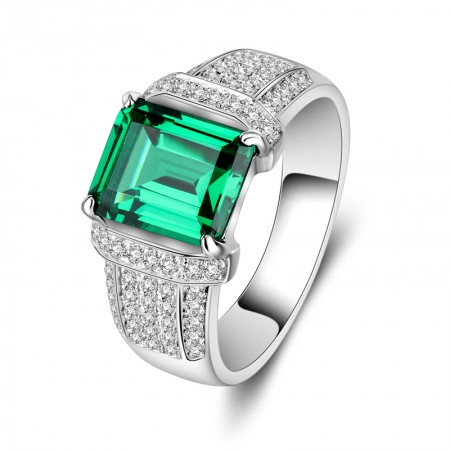 Personalized Square Emerald Mens Ring