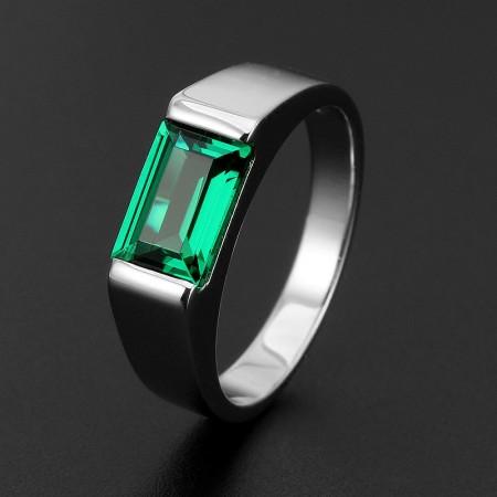 Simple Square Emerald Men's Engagement Ring