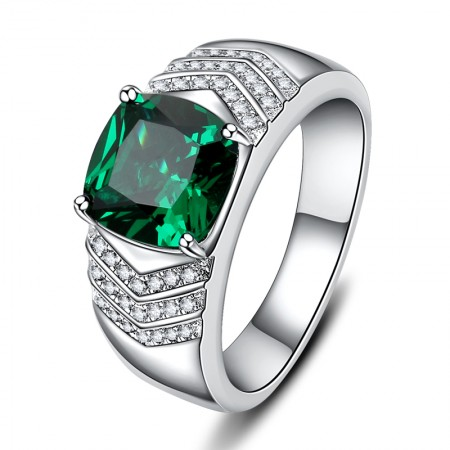 Gold-plated  925 Sterling Silver Emerald Men's Engagement Ring