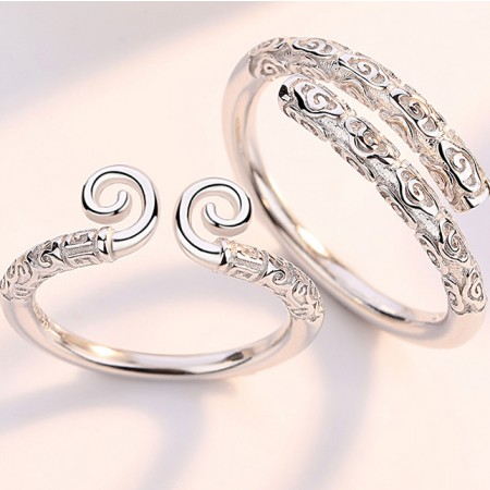 Romantic S925 Sterling Silver Opening Incantation Of Love Couple Rings