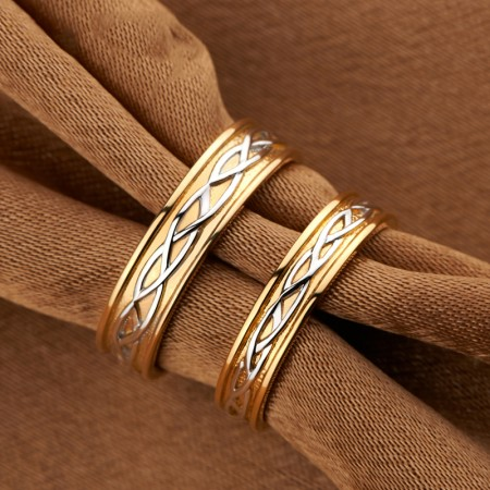 Endless Love 925 Silver Plated 18K Gold Retro Lovers Couple Rings